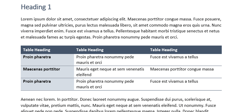 Inserting Building Blocks into a Word document. The selected Building Block on the page.