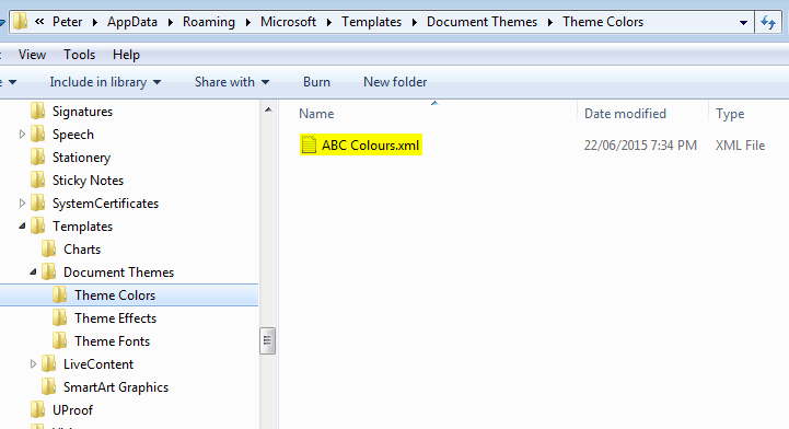 Installing MS Office theme files. The Colors theme folder.