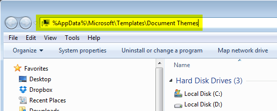 Installing MS Office themes. Open an Explorer window to fine the themes folder.