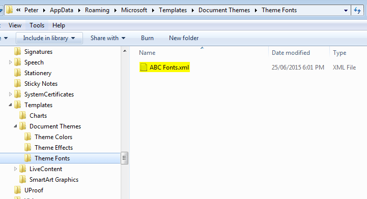 Installing MS Office theme files. The Fonts theme folder.