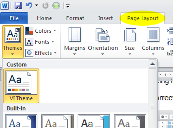 Installing MS Office theme files. Themes are found in the Design tab.