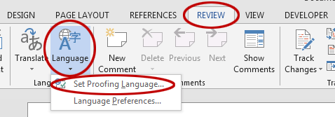 Spell check not working in Word. The Set Proofing Language setting.