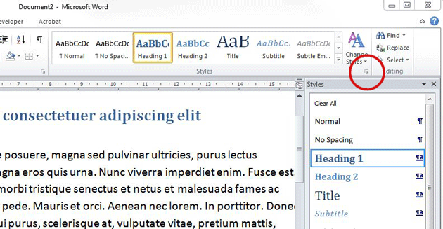 Understanding text styles in Word. The Styles pane.