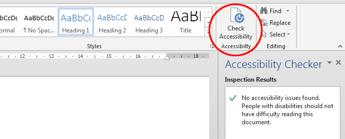 Word document accessibility: checking and improving. The Check Accessibility botton added to the Ribbon.