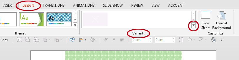 How to change the colours in a PowerPoint template. The Variants menu.